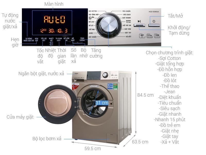 Máy giặt Aqua Inverter 8.5 kg AQD-DD850A (N2)