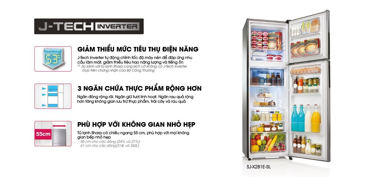 Tủ lạnh J-Tech Inverter mới của SHARP