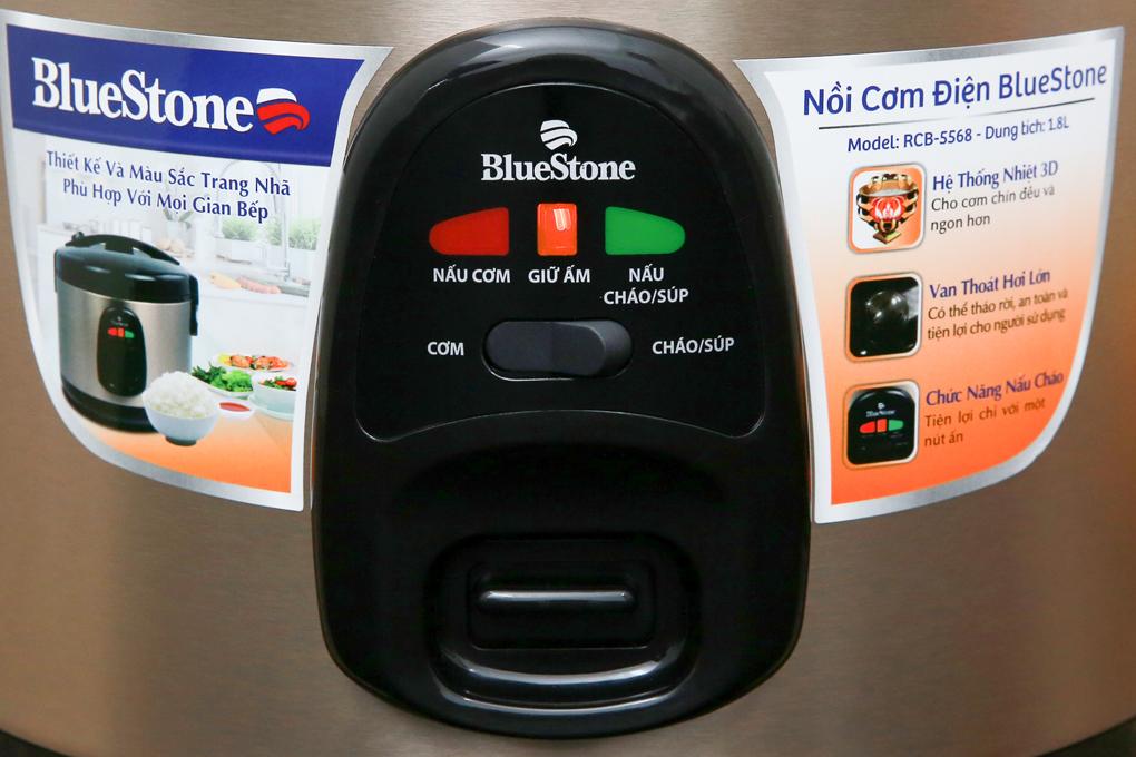 1 nút gạt và 1 nút nhấn để chỉnh các chức năng thuận tiện - Nồi cơm điện Bluestone RCB-5568 1.8 lít